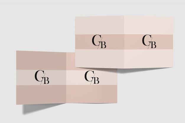 Square brochure mockup top angle