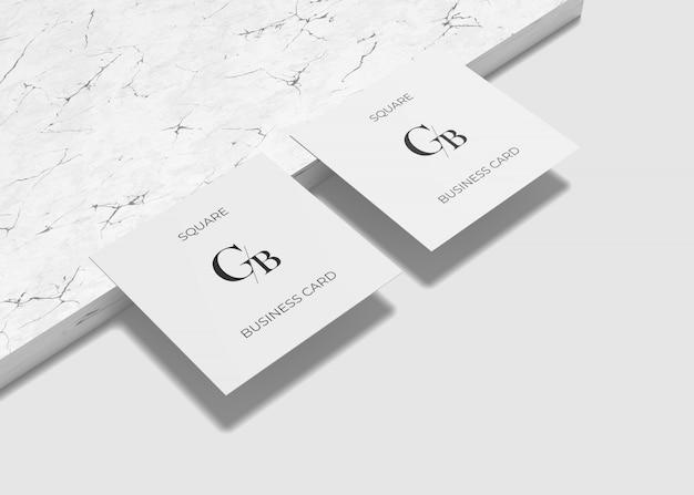 정사각형 비즈니스 및 대리석 카드 모형
