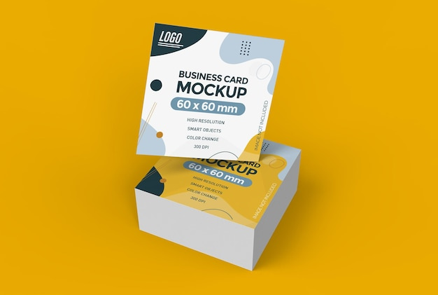 Square business card mockup in 3d rendering