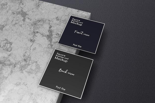 Square business card mockup on ceramic panel
