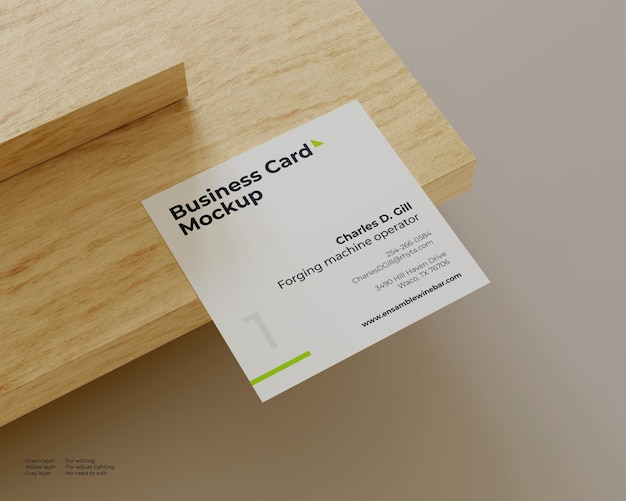 Square business card mockup at the end of a wooden corner