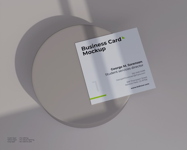 Square business card mockup under shadow