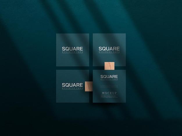 Квадратный макет визитки с эффектом высокой печати