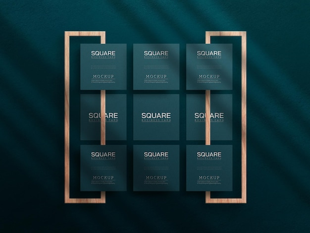 Square business card mockup with letterpress effect