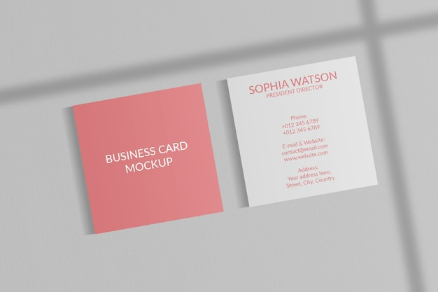 Square business card mockup with shadow overlay