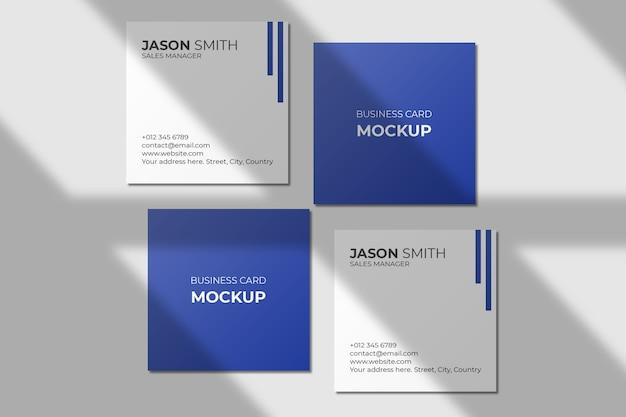 Квадратный макет визитки с тенью