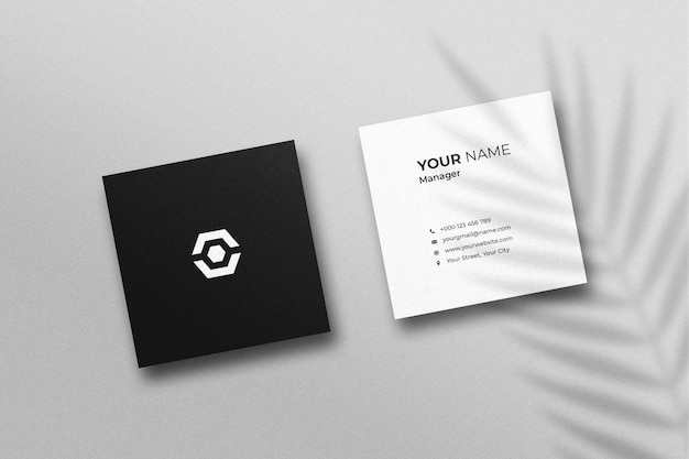 Square business card mockup with shadow Premium Psd