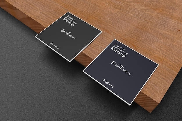 Square business card mockup on wood plank