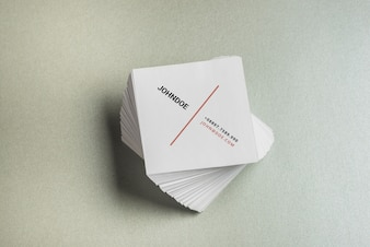 Square business card mockup