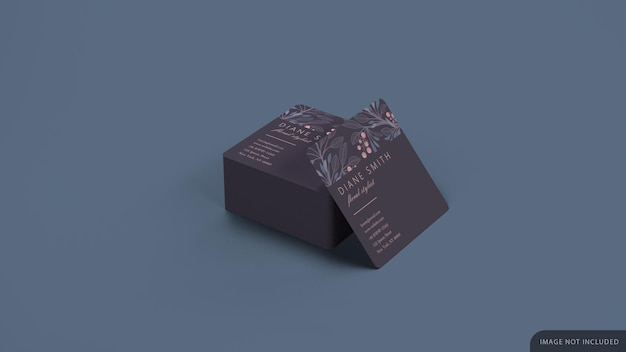Square business card stack mockup