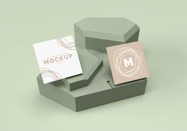 Square business cards mockup design rendering