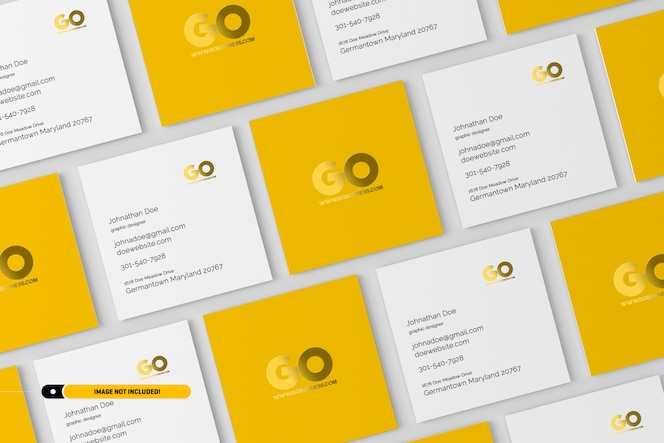 Square business cards mockup