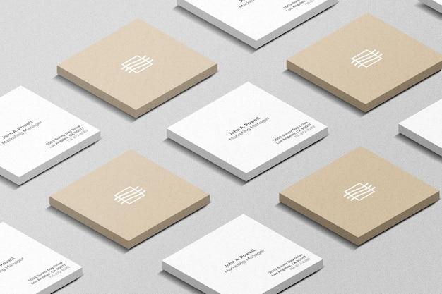 Square business cards set mockup