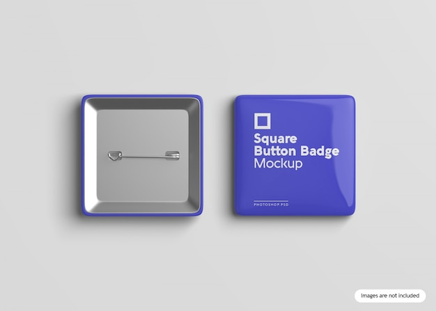 Square button badge mockup