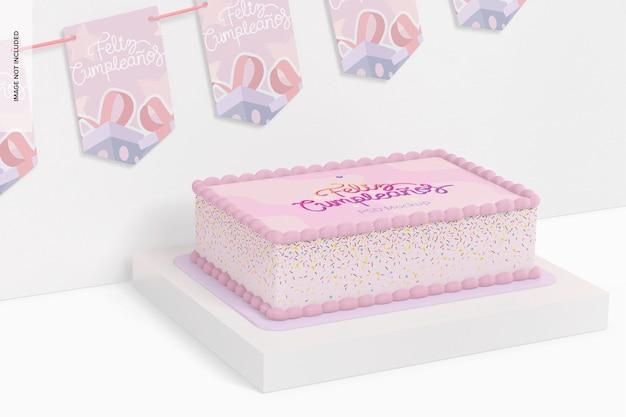 バナーモックアップと正方形のケーキ