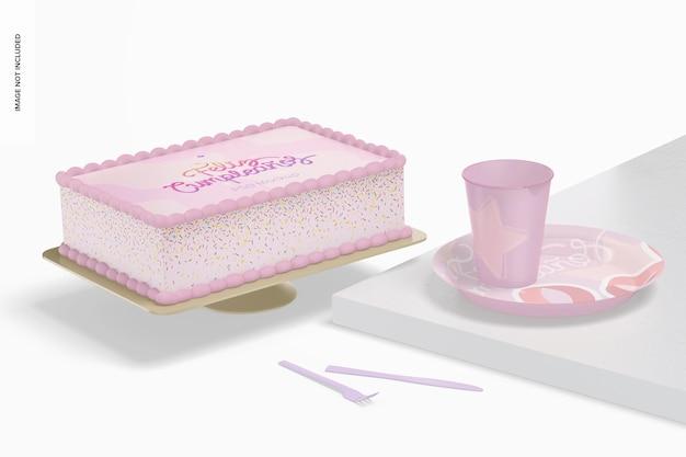 プレートモックアップと正方形のケーキ