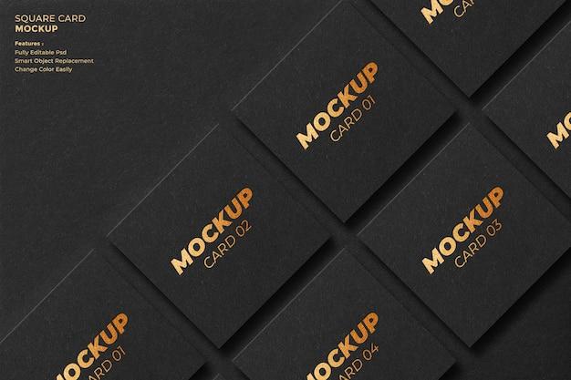 Square card mockup design in 3d rendering