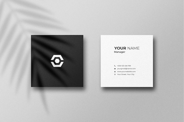 Square card mockup with shadow
