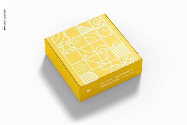 Мокап квадратного картонного почтового ящика