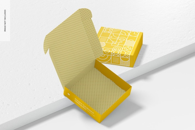 Square cardboard mailing boxes mockup, opened and closed