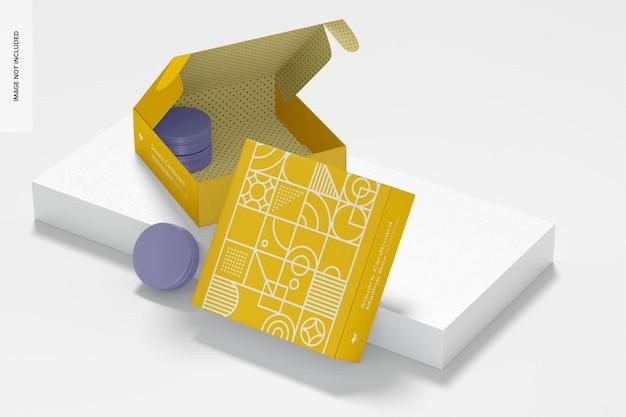 돌이있는 정사각형 골판지 우편 상자 모형