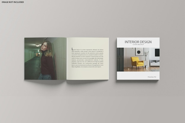 Square catalogue open and cover mockup