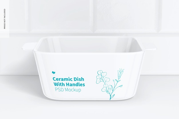 Square ceramic dish with handles mockup