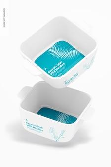 Квадратная керамическая посуда с ручками, макет, падающий