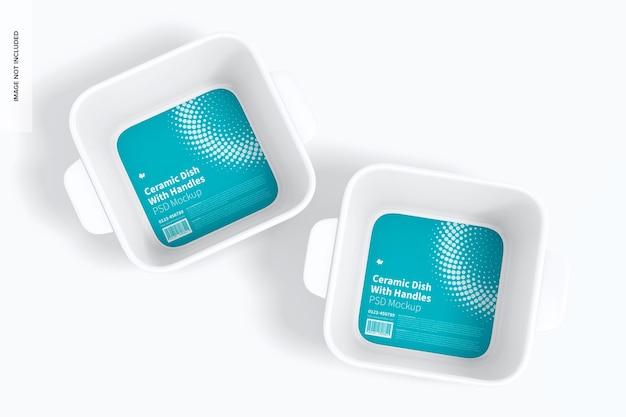 Квадратная керамическая посуда с ручками, макет, вид сверху