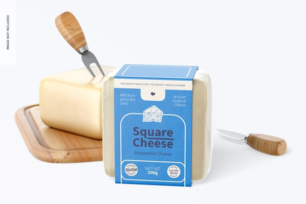 Square cheese mockup, front view