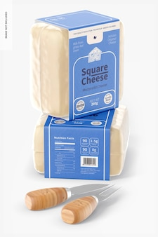Square cheeses mockup, stacked