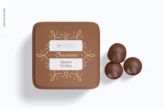 Mockup quadrato di scatola di latta di cioccolato, vista dall'alto