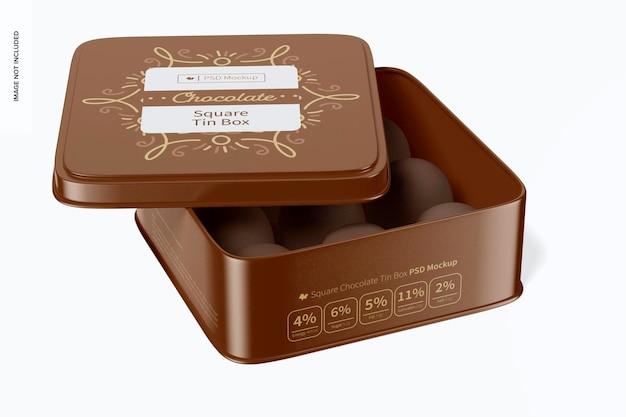 Мокап квадратной шоколадной жестяной коробки