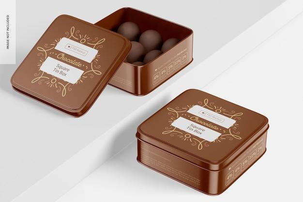 Mockup di scatole di latta di cioccolato quadrate, aperte e chiuse