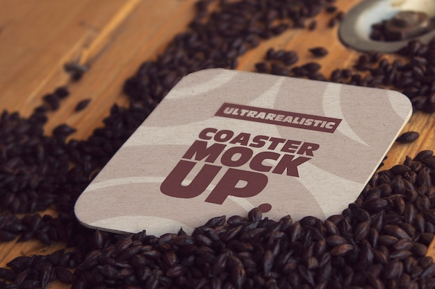 Square coaster black malt mockup
