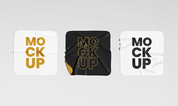 Square crumpled sticker mockup set