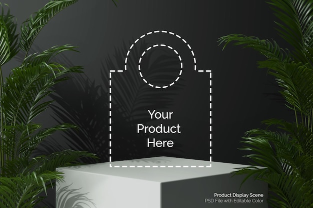 Square cube geometric white podium for product display
