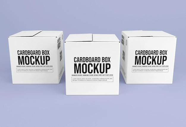 정사각형 배달 골판지 상자 모형
