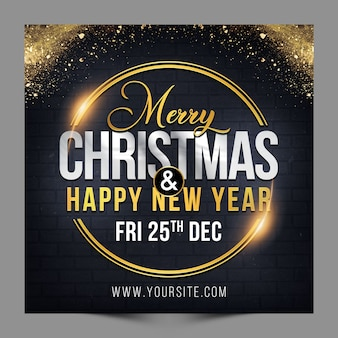 Square design merry christmas and happy new year greeting for social media post template