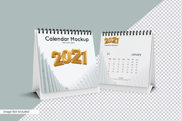 Квадратный стол календарь макет изолированные