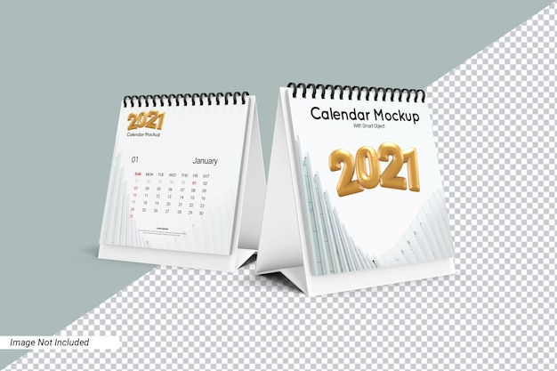 Square desk calendar mockup isolated