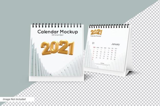 Square desk calendar mockup isolated