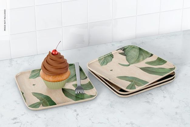 Mockup di piatti da dessert quadrati