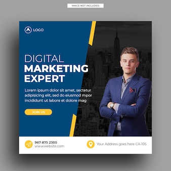 Square digital marketing agency social media post template