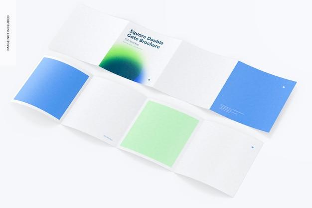 Мокап брошюры с квадратными двойными воротами, спереди и сзади