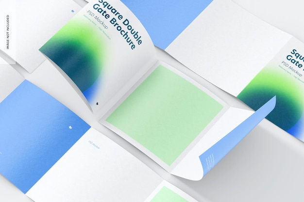 Квадратный макет брошюры с двойными воротами, мозаика