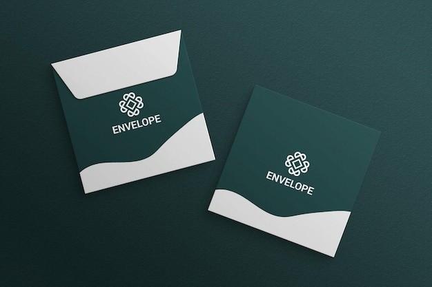 Square envelope mockup on textured paper