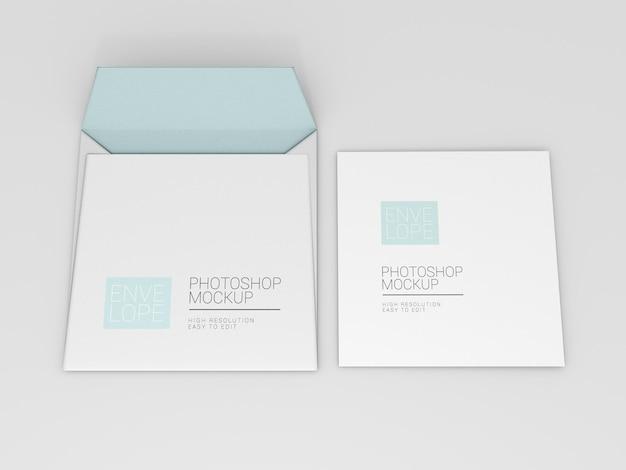 正方形の封筒のモックアップ