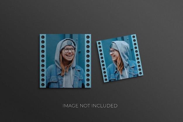 정사각형 필름 종이 프레임 모형 포토샵