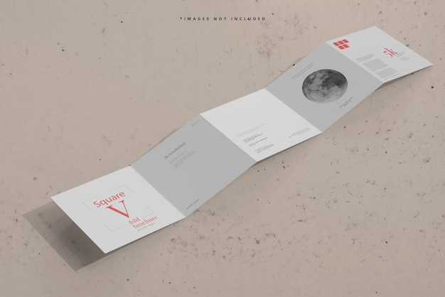 Square five fold brochure mockup